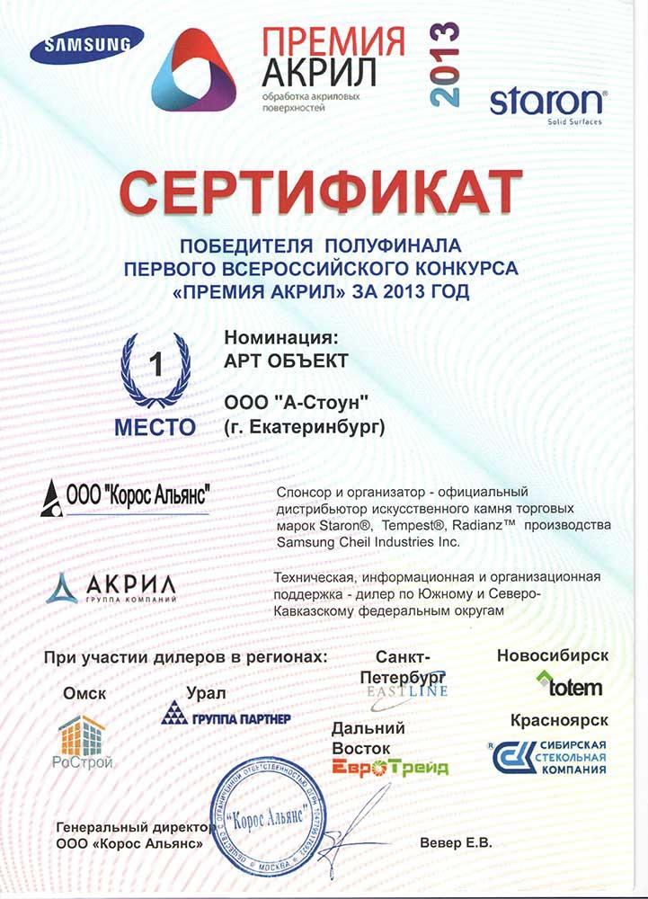 Сертификат победителя конкурса